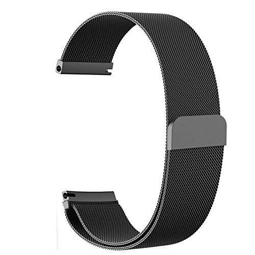 Vivoactive 3 Band,ViCRiOR Quick Release Milanese Loop Mesh Stainless Steel Metal Strap with Magnetic Closure Clasp for Garmin Vivoactive 3,Forerunner 645 Music, Black