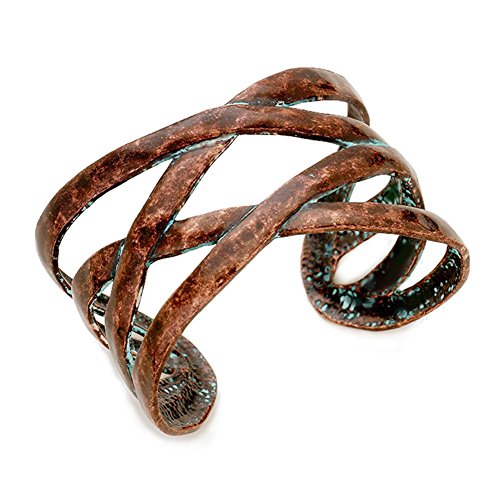 "- Lucky You Beaten Distressed Vintage Look Copper-Tone & Patina Accents Criss-Cross Open Work Cuff Bracelet 1 ½"" Wide"