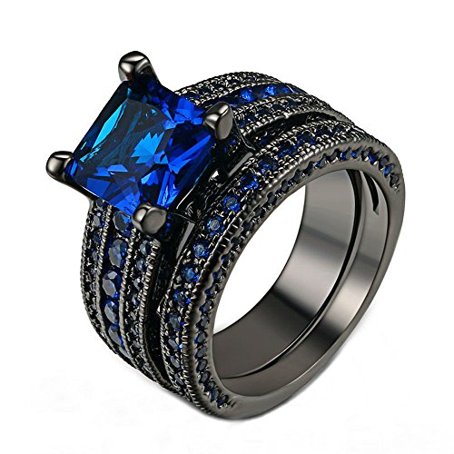 Black Gold 18K Vintage Rings Set Blue Crystal Engagement Gifts Wedding Bands (6)