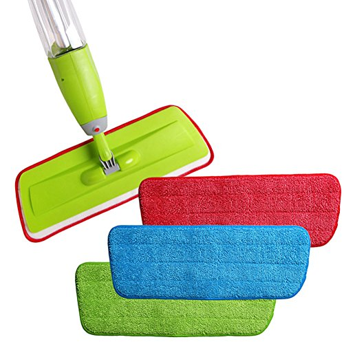 "Delidge 3-pack Washable Microfiber Mop Pads Refill Replacement Reusable,16""(L) x 5.5""(W),Wet/Dry Cleaning Use,Cleaning Supply"