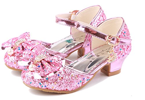 a2b33e18 ... YOGLY Disfraz de Princesa Zapatos de Tacón Alto Fiesta Sandalias para  Niñas Brillante Princesa Zapatilla de ...