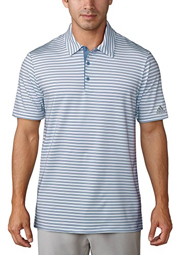 (adidas Ultimate 365 2-Color Stripe Polo - CY2170 Trace Royal/White - Large)