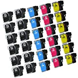 Virtual Outlet ® 30 Pack Compatible Inkjet Cartridges for Brother LC-61 LC61 LC 61 LC-61XL, LC-61BK LC-61C LC-61M LC-61Y High Yield Compatible with Brother DCP-165C, DCP-585CW, DCP-375CW, DCP-385CW, DCP-395CN, DCP-J125, MFC-290C, MFC-490CW, MFC-5490CN, MFC-5890CN, MFC-6490CW, MFC-790CW, MFC-990CW, MFC-255CW, MFC-495CW, MFC-795CW, MFC-295CN, MFC-250C, MFC-6890CDW, MFC-J615W, MFC-J415W, MFC-J265w,