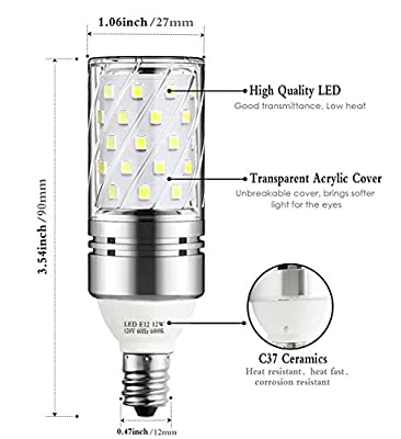 Vakey E12 LED Bulbs,12W LED Candelabra Light Bulbs 100 Watt Equivalent, 1200lm, Daylight White 6000K LED Chandelier Bulbs, Decorative Candle Base E12 Non-Dimmable LED Lamp, Pack of 3