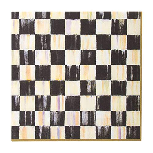 (MacKenzie-Childs Courtly Check Paper Napkins Gold - Dinner - Black & White - Fancy Kitchen Paper Napkins - Triple-ply (20 per Pack) )