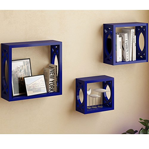 Set of 3 Navy Blue Square Cube Wall Shelves Larger Shelf Set Stylish Side Decor with Modern Touch