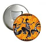 Dance People Mexico Totems Mexican Round Bottle Opener Refrigerator Magnet Pins Badge Button Gift 3pcs