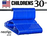 Neaties Children's Size Blue Plastic Hangers, USA Made Long Lasting Tubular Hangers, Set of 30