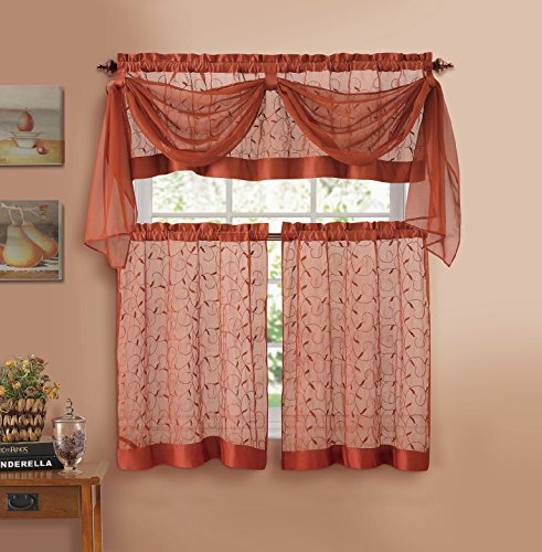 Linen Leaf Embroidered Sheer Kitchen Curtain Set - Assorted Colors (Cinnamon) (Scarf Embroidered Curtain Valance)