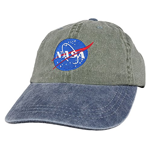 - Armycrew NASA Insignia Embroidered 100% Cotton Washed Cap (One Size, Olive Navy)