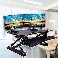 Smart & Art Height Adjustable Sit to Stand Computer Desk Standing Desk Riser Workstation (Black - Sleek Design)