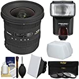 Sigma 10-20mm f/3.5 EX DC HSM Zoom Lens with Flash + Soft Box + Bounce Diffuser + 3 Filters Kit for Canon EOS DSLR Cameras