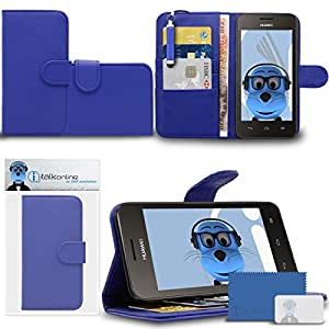 Blue PU Leather Multi-Function Wallet Case Cover with Credit / Business Card Money Holder Viewing Stand, LCD Screen Protector and Retractable Mini Stylus Pen For Huawei Ascend Y330