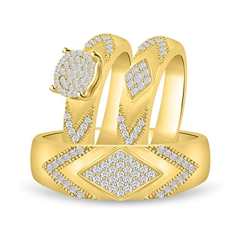 - Diamond Scotch 14K Yellow Gold Over Mens and Women Trio Set Him and Hers Bride and Groom Wedding Band Engagement Trio Ring
