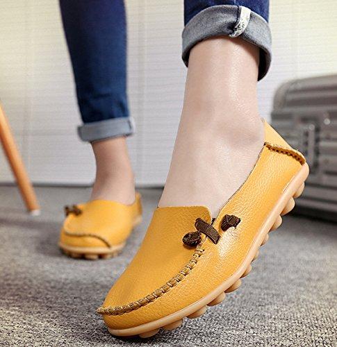 Scarpe Mocassini, Mocassini Da Donna In Vera Pelle Mocassini Casual Scarpe Da Guida Piatte Slip-on Pantofole Gialle