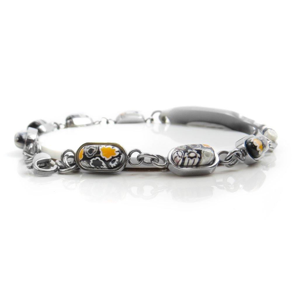 Pre-Engraved /& Customized Peanut Allergy Alert Bracelet Black//White Millefiori Glass Pattern Black My Identity Doctor