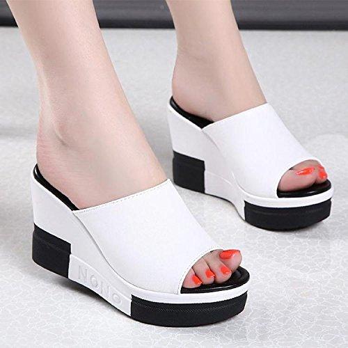 ZPPZZP Ms sandali pantofole estate trascinare a tacco alto aumentato di spessore pendenza con il bianco 36EU