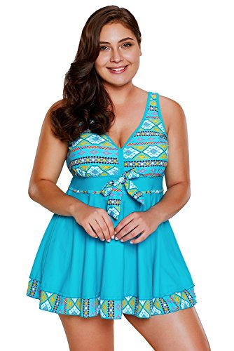 New stampa tribale blu accento 2PCS bikini Tankini set bikini Swimwear estivo, taglia UK 10EU 38