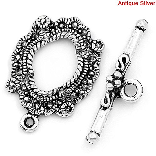 30 Sets Silver Tone Bracelet Toggle Clasps (Antique Flower) - Findings, DIY Crafts, Jewelry Making