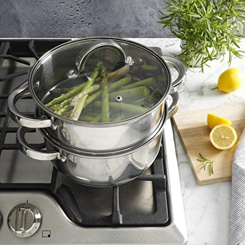 51uRNs9PNUL. AC Oster Sangerfield Stainless Steel Cookware, 3.0-Quart Casserole Set w/Steamer Basket    3 qtr. Stainless Steel steamer for use on your stove top. Perfect for steaming vegetables and cooking rice at the same time as well as re-steaming tamales as leftovers. Smaller size than traditional stockpot steamers for smaller gatherings and space-saving. Dual purpose as Dutch oven with glass lid. 3QT Casserole 8.5' in diameter x 3.7' Height = Piece by itself, 3QT Steamer 8.5' in diameter x 3.6' Height = Piece by itself, With Glass lid 8.5' in diameter (you can use for both the pot and the steamer), Stackable measurements = 8.5' in diameter x 6.20' Height = Stackable Casserole and Steamer.