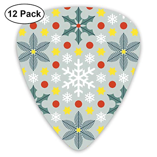 Holly Flat Cards - Yellow Red Holly Fir Snowflake Small Medium Large 0.46 0.73 0.96mm Mini Flex Assortment Plastic Top Classic Rock Electric Acoustic Guitar Pick Accessories Variety Pack