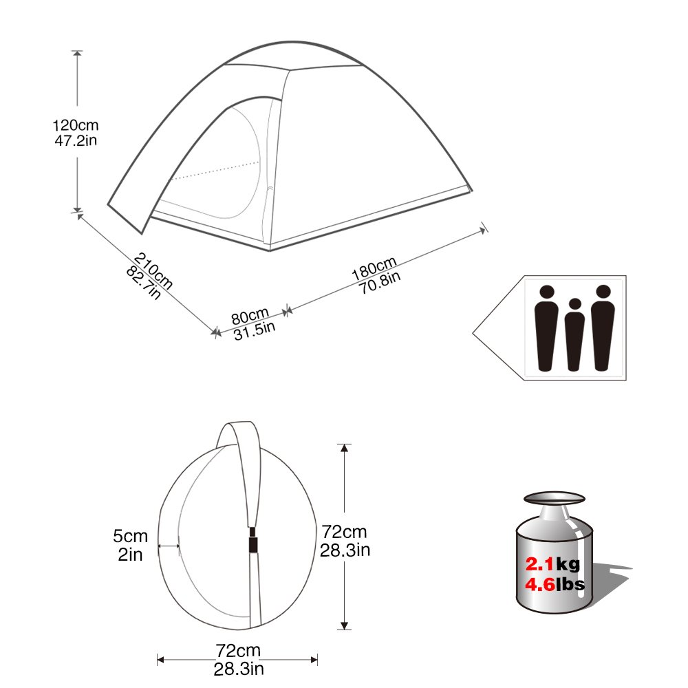 KingCamp 3-Person Pop up Camping Tent, 3-Season Lightweight Dome Waterproof Tents with Carry Bag