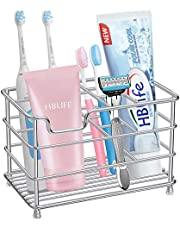 Toothbrush Holder, HBlife Stainless Steel Bathroom Toothbrush Toothpaste Holder Stand Bonus 5Pcs Toothbrush Cover