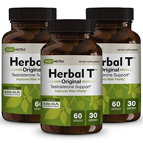 Herbal T Natural Testosterone Booster for Men: Increase Energy, Endurance, and Vitality - Featuring Clinically Proven KSM-66 Ashwagandha (3-Bottle) (Best Testosterone Supplements For Men Over 40)