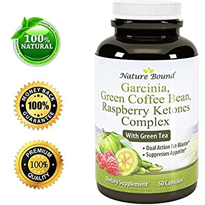 Tri-Blend Weight Loss Supplement with Pure Garcinia Cambogia HCA, Green Coffee Bean and Raspberry Ketones Complex Best Fat Burner Natural Diet Pills for Men and Women 60 Capsules by Nature Bound