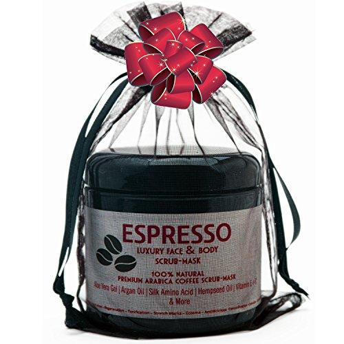 Coffee Body & Face Scrub.100% Natural.Exotic Oils Help Skin Repair & Regenerate. Moisturizing Exfoliating Scrub Helps Anti Aging,Cellulite,Stretch Marks, & Acne. Great Christmas Gift Idea.