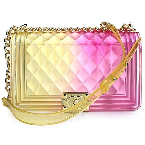 Women Transparent Jelly Messenger Bag Lady Gradient Candy Color Shoulder Purses Mini Crossbody Bag with Chain (Yellow,25x15x8CM)]()