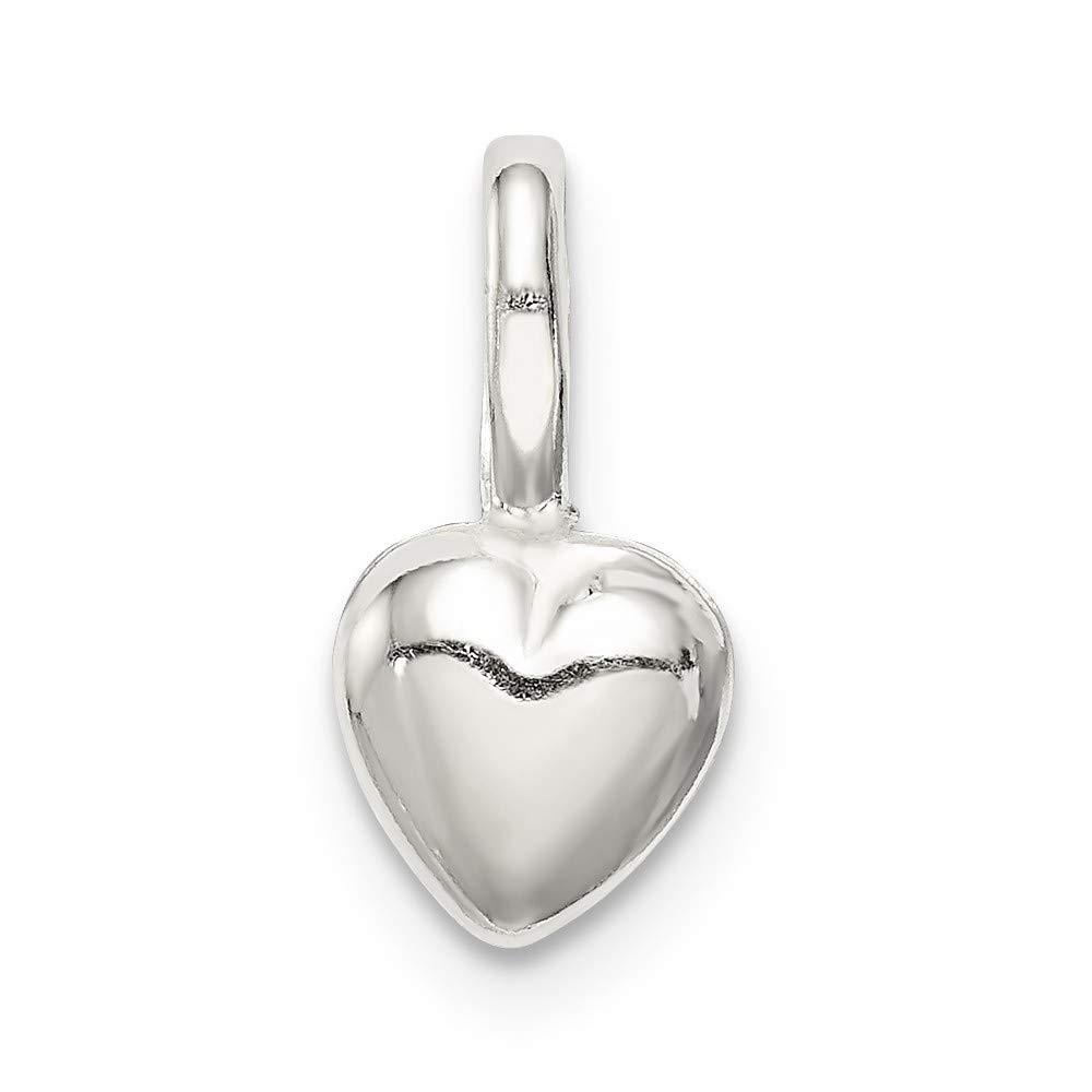 6mm x 12mm Jewel Tie 925 Sterling Silver Puffed Heart Pendant Charm