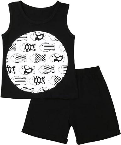 Conjuntos de Ropa de Algodón para Niños, Niñas Camiseta sin Mangas Unisex para Niños Pequeños de Verano + Conjunto de Pantalón Corto Negro 1-6 Años: Amazon.es: Ropa y accesorios