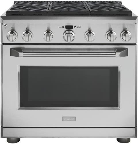 GE Monogram ZDP366NPSS 36' Pro-Style Dual-Fuel Range with 6 Sealed...