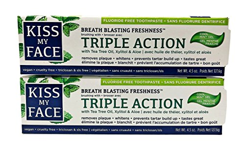 Toothpaste Face (Kiss My Face Toothpaste Triple Action Cool Mint Gel 4.5 Ounce (133ml) (2 Pack))