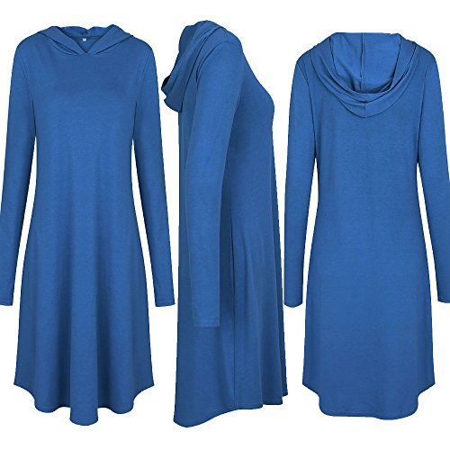 Long with Sleeve Dresses Young17 Women's Hoodie Blue Causal Pockets Hooded Dress 8Ox5q