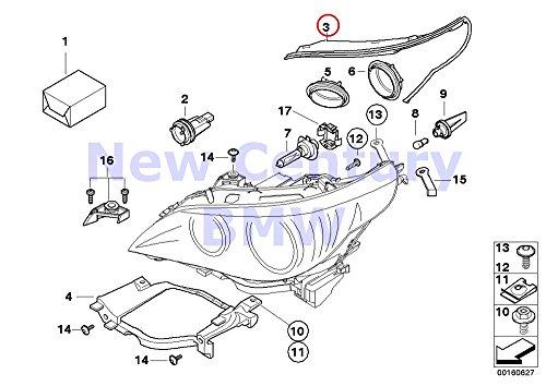 BMW Genuine Headlight Right Headlight Gasket 525i 525xi 530i 530xi 545i 550i M5 528i 528xi 535i 535xi 550i 530xi 535xi