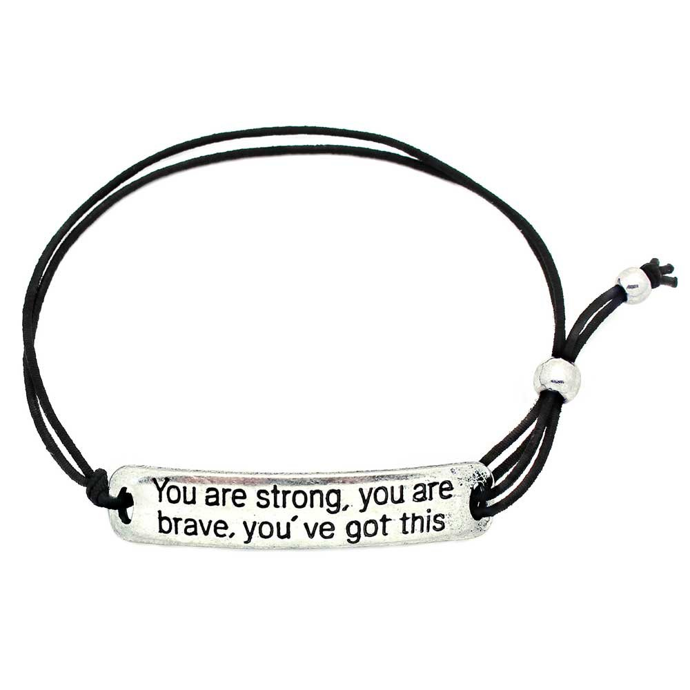 You Are Strong, You Are Brave, You've Got This' Inspirational Stretch Bracelet - One Size Fits All Motivational Bracelet With Engraved Plaque & Black Elastic