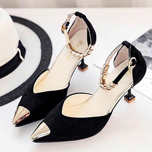 RUGAI-UE Verano High-Heeled hebilla zapatos finos Black