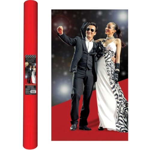 Movie Night Hollywood Themed Party Long Red Carpet Aisle Runner Decoration, Felt, 40 Feet x 36 Inches by Amscan