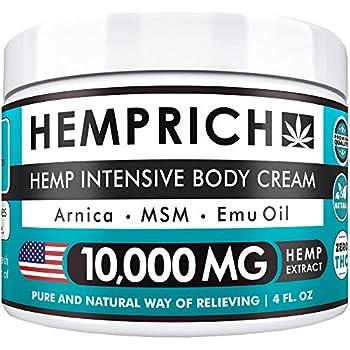 Hemp Cream 10,000mg | 4oz - Made in USA - Back, Neck, Knee Pain Relief - Natural Hemp Oil Cream - Anti Inflammatory - Fast Sore Muscle & Joint Relief - Arnica, MSM, EMU Oil & Glucosamine - Non-GMO