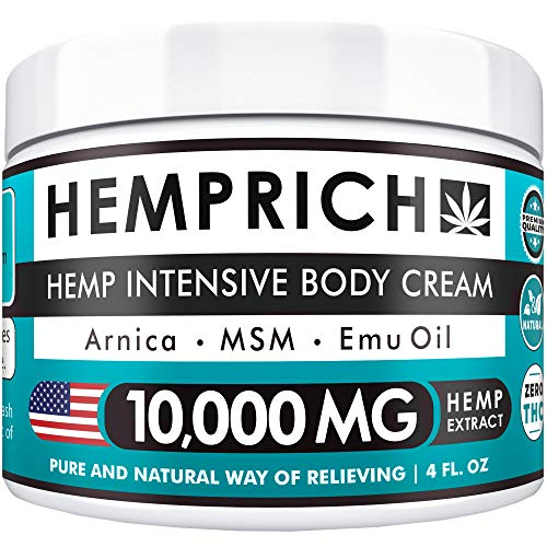 Hemp Cream 10,000mg | 4oz - Made in USA - Back, Neck, Knee Pain Relief - Natural Hemp Oil Cream - Anti Inflammatory - Fast Sore Muscle & Joint Relief - Arnica, MSM, EMU Oil & Glucosamine - Non-GMO (Best Relief For Sore Muscles)