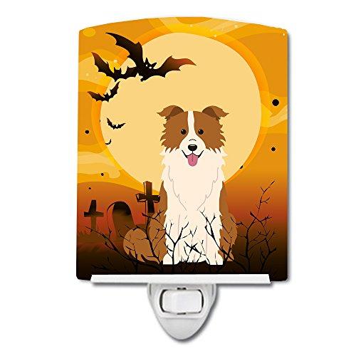 Caroline's Treasures Halloween Border Collie Red White Ceramic Night Light 6x4 Multicolor