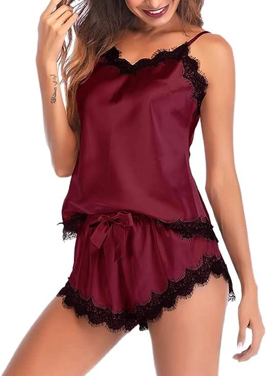 Womens Strap Sleeveless Sleepwear Nightwear Lace Trim Satin Cami Tops Pajama Set