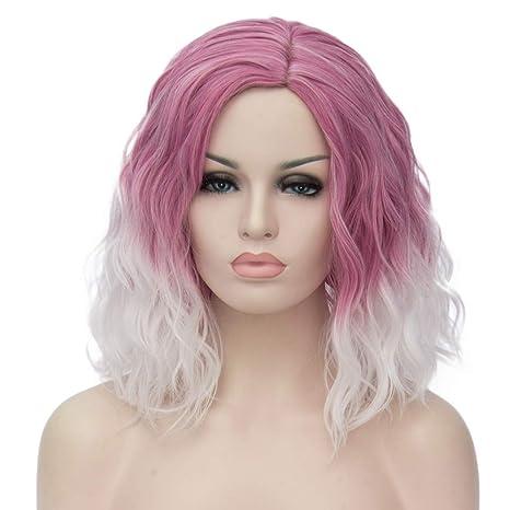 ATAYOU® Short Curly Ombre Sintético Cosplay Bob Pelucas Para Mujer Fancy Dress con 1 Gorro de Peluca Gratis (Pink to White Ombre)