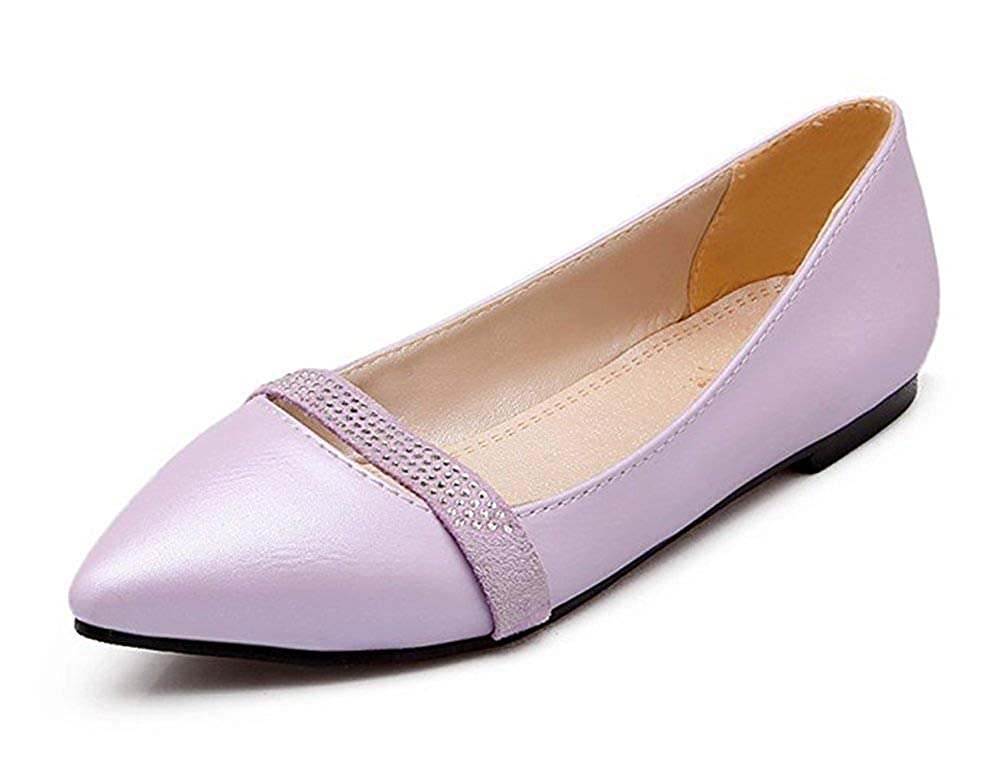 Unm Womens Comfort Rhinestone Pointed Toe Low Cut Wear to Work Driving Slip On Flats Shoes