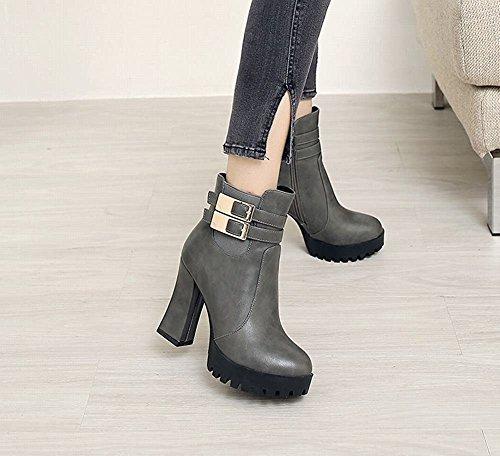 YE Damen Ankle Boots Chunky Heels Plateau Stielfeletten mit Reißverschluss und Schnallen Blockabsatz 11cm Elegant Bequem Schuhe Grau