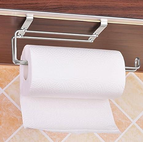 SUS304 acero inoxidable soporte para rollo de papel de cocina fregadero de percha toalla Hanger Organizador Rack, bajo armario sin perforación: Amazon.es: ...