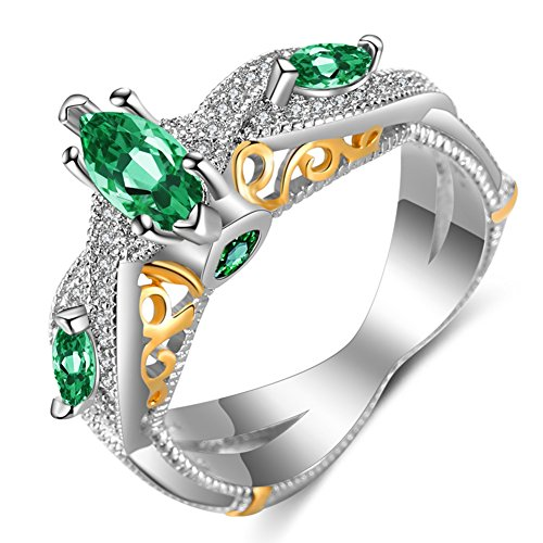 FENDINA Women's Infinity Rings Vintage Pear Cut CZ Twisting Cross Shank Bridal Engagement Wedding Halo Promise Eternity Rings Green, 5 ()