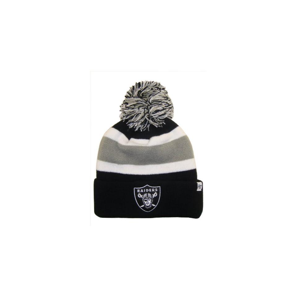 Oakland Raiders NFL Long Beanie Knit Ski Cap Hat w/ POM